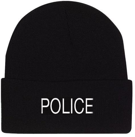 Black POLICE Watch Cap Ski Hat - White Embroidered Winter Hat 100% Acrylic