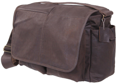 Brown Leather Classic 5-Pocket Messenger Shoulder Bag Rothco 91480
