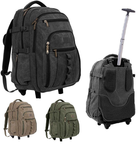"Rolling Canvas Backpack - Versatile 23"" Wheeled Bag w/ Push Handle"
