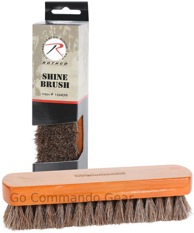 "Boot & Shoe Shine Brush - 100% Horsehair Bristles With 7"" x 2"" Solid Wood Handle"