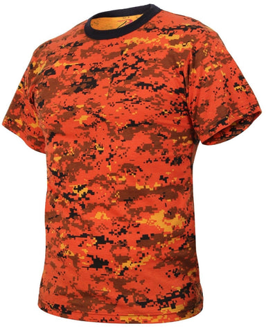 Orange & Black Digital Camouflage T-Shirt - Rothco Soft Cotton Digi Camo Tee