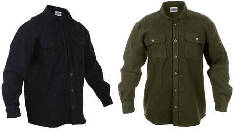 Men's Heavyweight 100% Cotton Flannel Button-Down Shirt - OD or Black - S - 4XL