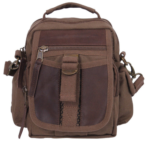 "Brown Leather and Canvas Compact Travel Bag - Rothco 8"" Tourist Shoulder Bags"