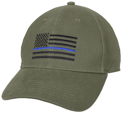 Olive Drab Green Thin Blue Line Low Profile Police Support Baseball Cap Hat