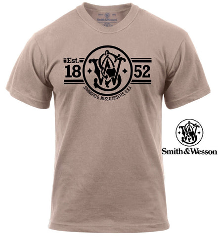 "Smith & Wesson ""Established 1852, Springfield Massachusetts"" Cotton Tee T-Shirt"