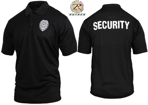 Mens Black SECURITY Print Badge Moisture Wicking Lightweight ... 4a502ed7840