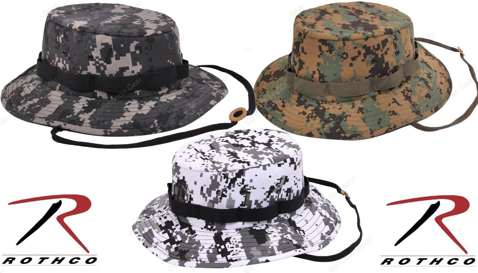 ce8af84e88dd1 Digital Camouflage Jungle Boonie Hat - Rothco Mens Camo Chin Strap Bucket  Hats Woodland ...