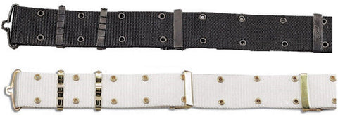 "Military Style Pistol Belt With Metal Buckles - Rothco Black or White 48"" Belts"