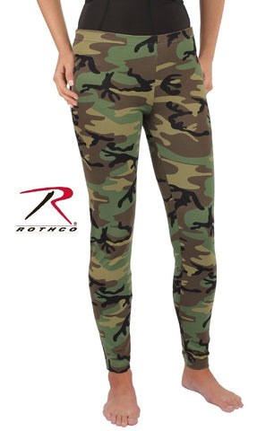Womens Camouflage Leggings - Snug Cotton Spandex Classic Camo Legging Pants