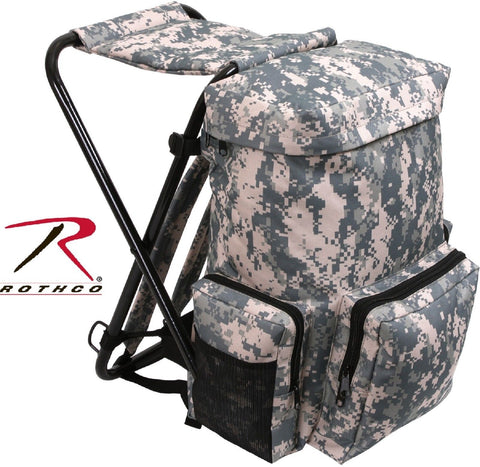 ACU Digital Camouflage Backpack Stool Pack w/ Metal Frame - Rothco Camp Seat Bag
