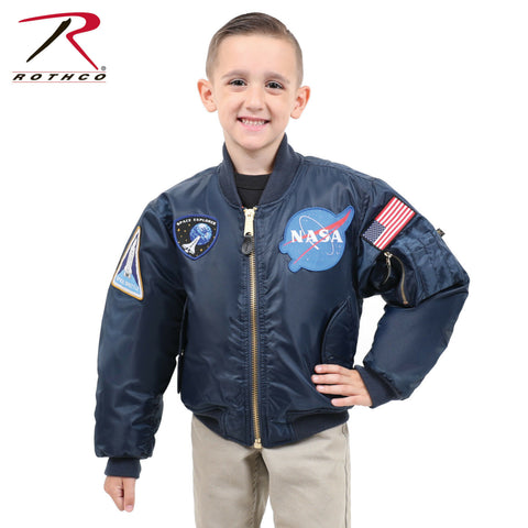 Rothco Kids Navy Blue MA-1 Reversible Flight Jacket With NASA Patches