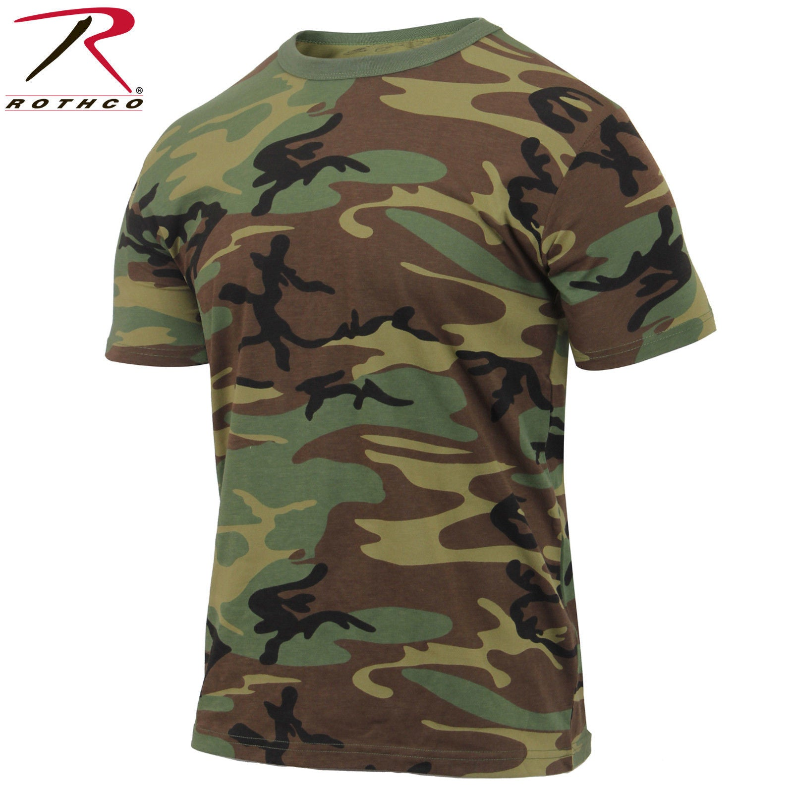 effb3b57347f Men's Athletic Cut Woodland Camo T-Shirt - Rothco Athletic Fit Short ...