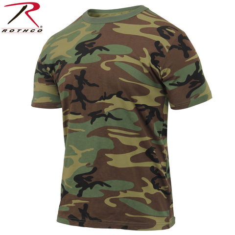 Men's Athletic Cut Woodland Camo T-Shirt - Rothco Athletic Fit Short Sleeve Tee