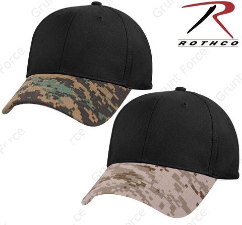 Digital Camouflage Two Tone Low Profile Baseball Cap - Rothco Digi Camo Brim Hat