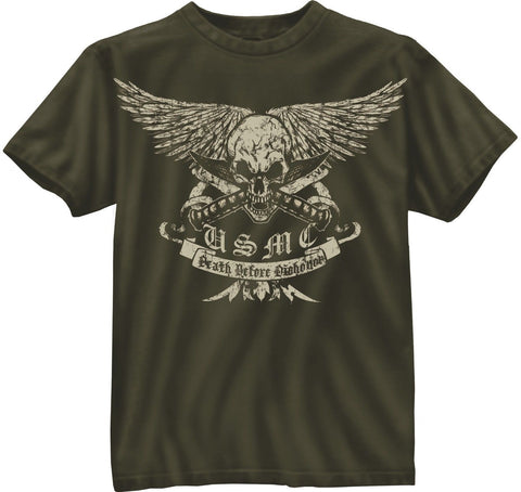 "Black Ink USMC ""Death Before Dishonor"" Olive Drab T-Shirt"