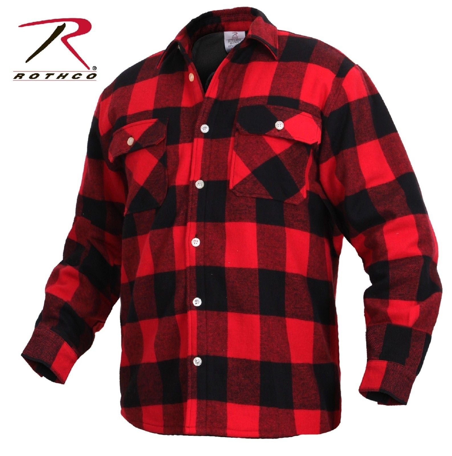 Mens Fleece-Lined Plaid Flannel Shirt - Rothco Red & Black ...