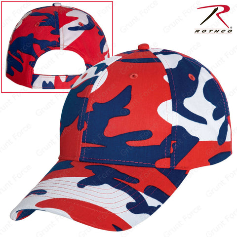 Red White Blue Camo Adjustable Baseball Hat - Rothco Color Camo Mid-Low Pro Cap