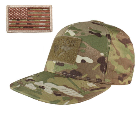 MultiCam Camouflage Flat Bill Brim Baseball Cap Hat & Attachable USA Flag Patch
