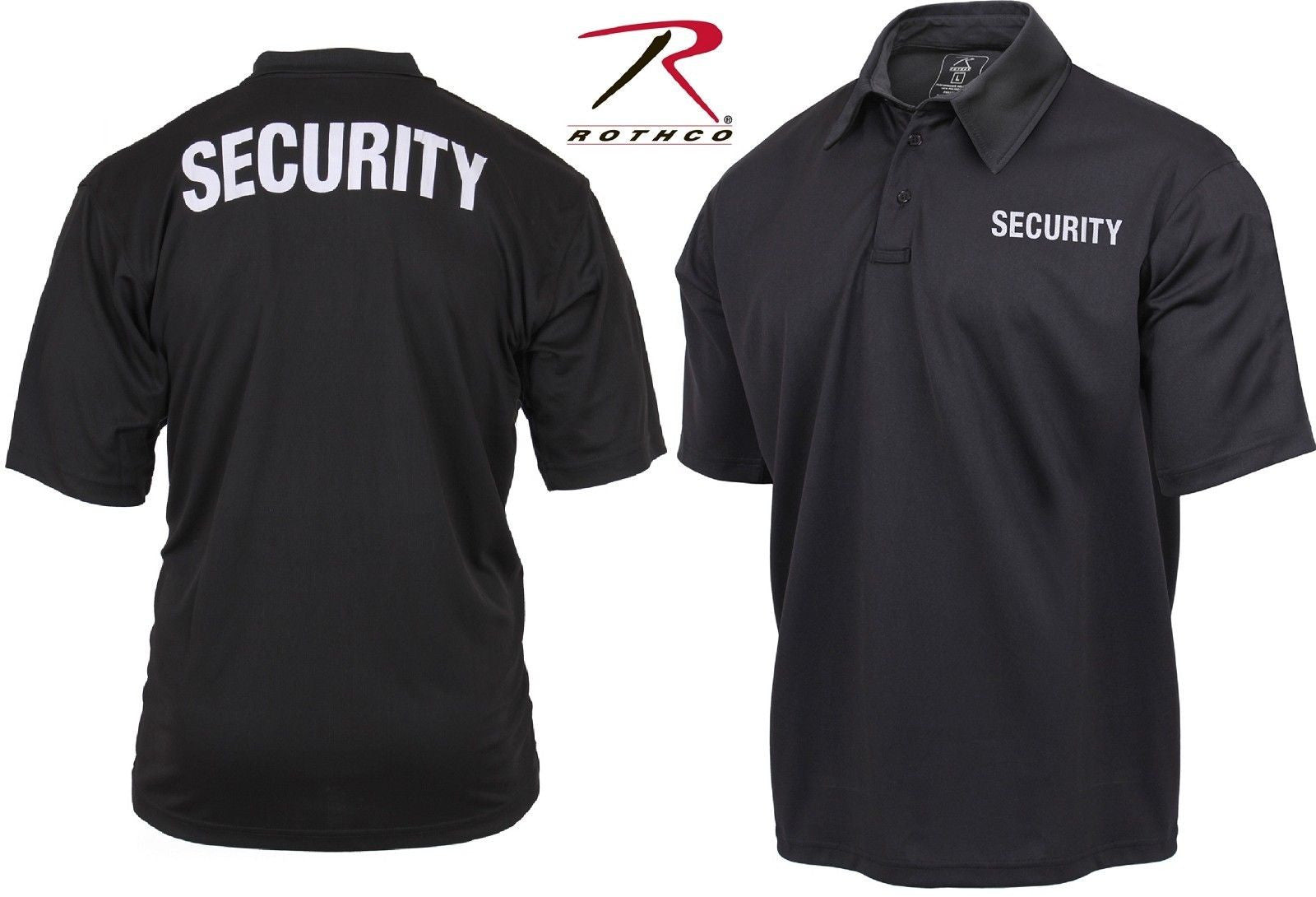 Mens Black Double Sided Security Lightweight Moisture Wicking Polo