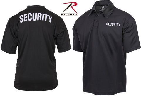 3bc198fa Mens Black Double Sided SECURITY Lightweight Moisture Wicking Polo Shirt
