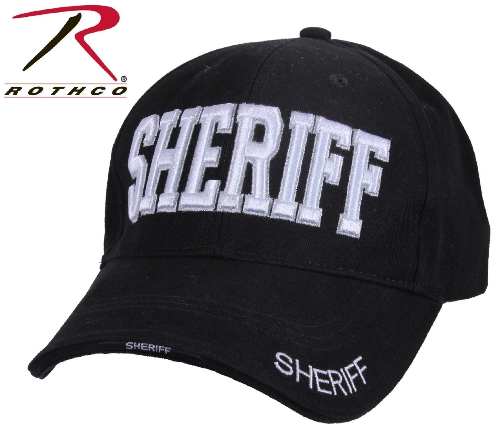 5bdcf65ed74 Black Embroidered SHERIFF Deluxe Low-Profile Baseball Hat - Rothco Police  Cap