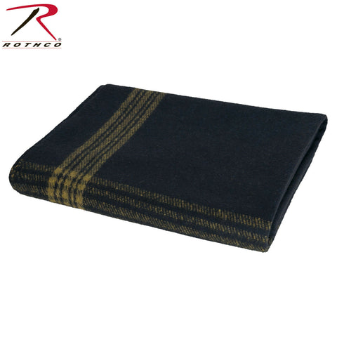 "Rothco Navy with Gold Stripe Wool Blanket - Survival Blanket 62"" x 80"""