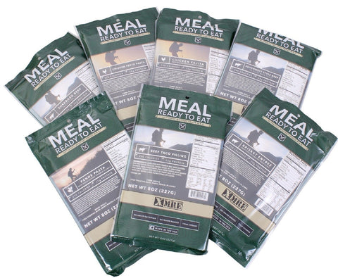 7-PACK XMRE Main Entree Meal Ready To Eat - 8 oz MRE Emergency Camping Dinners