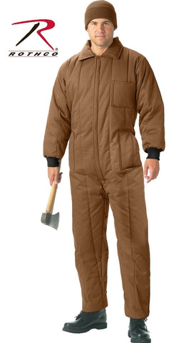 Coyote Brown Insulated Snowsuit Coverall - Rothco Full Zipper Winter Snow Suit