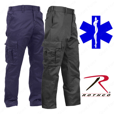 Men's Black or Navy Blue EMT/EMS Pants - Rothco Deluxe EMT Pants