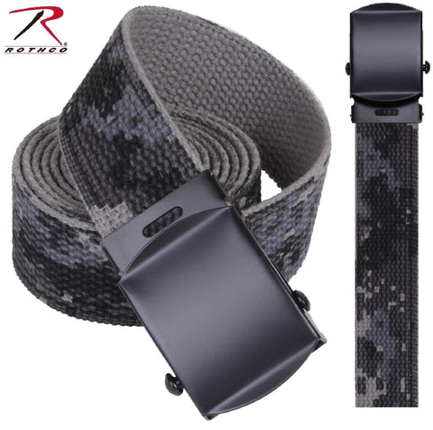 Black & Gray Subdued Urban Digital Camouflage Reversible Cotton Web Belt