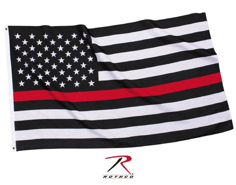 The Thin Red Line Polyester Hanging Flag - Fireman Support USA Flag