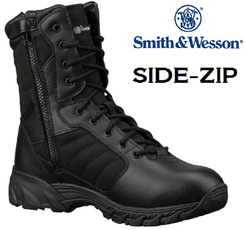 "Black Smith and Wesson 9"" Breach 2.0 Side Zip Tactical Field Duty Work Boots"
