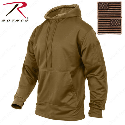 Mens Coyote Brown Concealed Carry Tactical Hooded Hoodie Sweatshirt & USA Patch