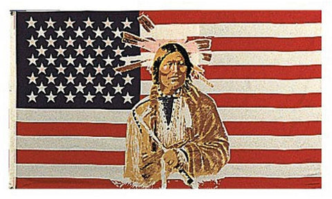 American Indian USA Flag - 3' x 5' Polyester Native American Hangable Flags