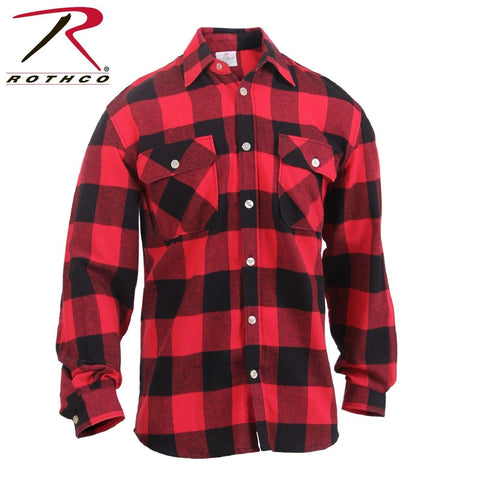 Men's Red/Black Lightweight Flannel Shirt - Rothco Lightweight Cotton Flannel