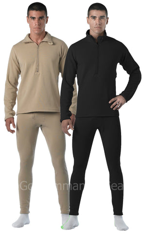 Military ECWCS Gen III Mid-Weight Long Underwear - Black, Desert Sand Long Johns
