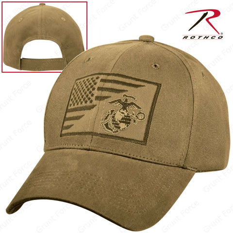 Rothco USMC Globe & Anchor US Flag Mid-Low Profile Cap - Brown Adjustable Hat