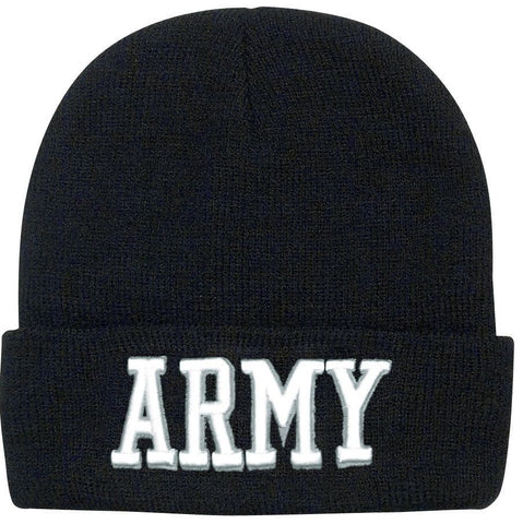 Black ARMY Watch Cap Ski Hat - Raised White Embroidery Military Style Winter Hat