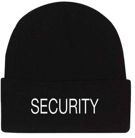 Black SECURITY Watch Cap Ski Hat - White Embroidered Winter Hat 100% Acrylic