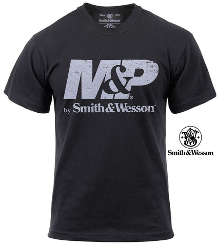 Smith & Wesson Fatigued M&P Logo T-Shirt - Vintage Black Cotton S&W Tee Shirt