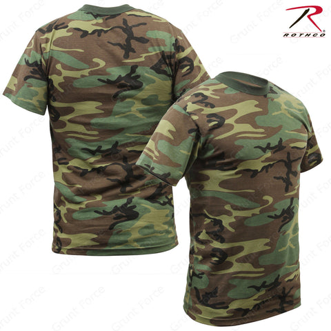 Rothco Kids Woodland Camo Heavyweight T-Shirt - Double Needle Stitched Kids Tee