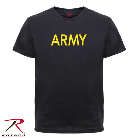 Rothco Kid's Black T-Shirt With Gold ARMY Lettering - ARMY Physical Training Tee