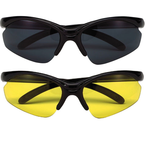 Black or Yellow Dual Lens Sport Glasses - 99% UV Wraparound Sunglasses Rothco