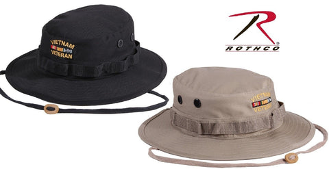 1341af0a1e21e VIETNAM VETERAN Military Style Boonie Hat - Rothco Black or Khaki Bucket  Hats