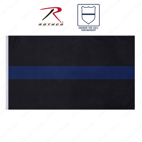3' x 5' Thin Blue Line Pole Flag With 2 Grommets - Law Enforcement Support Flag