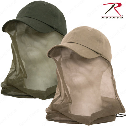 Rothco Adjustable Operator Cap With Mosquito Net - Olvie Drab or Khaki