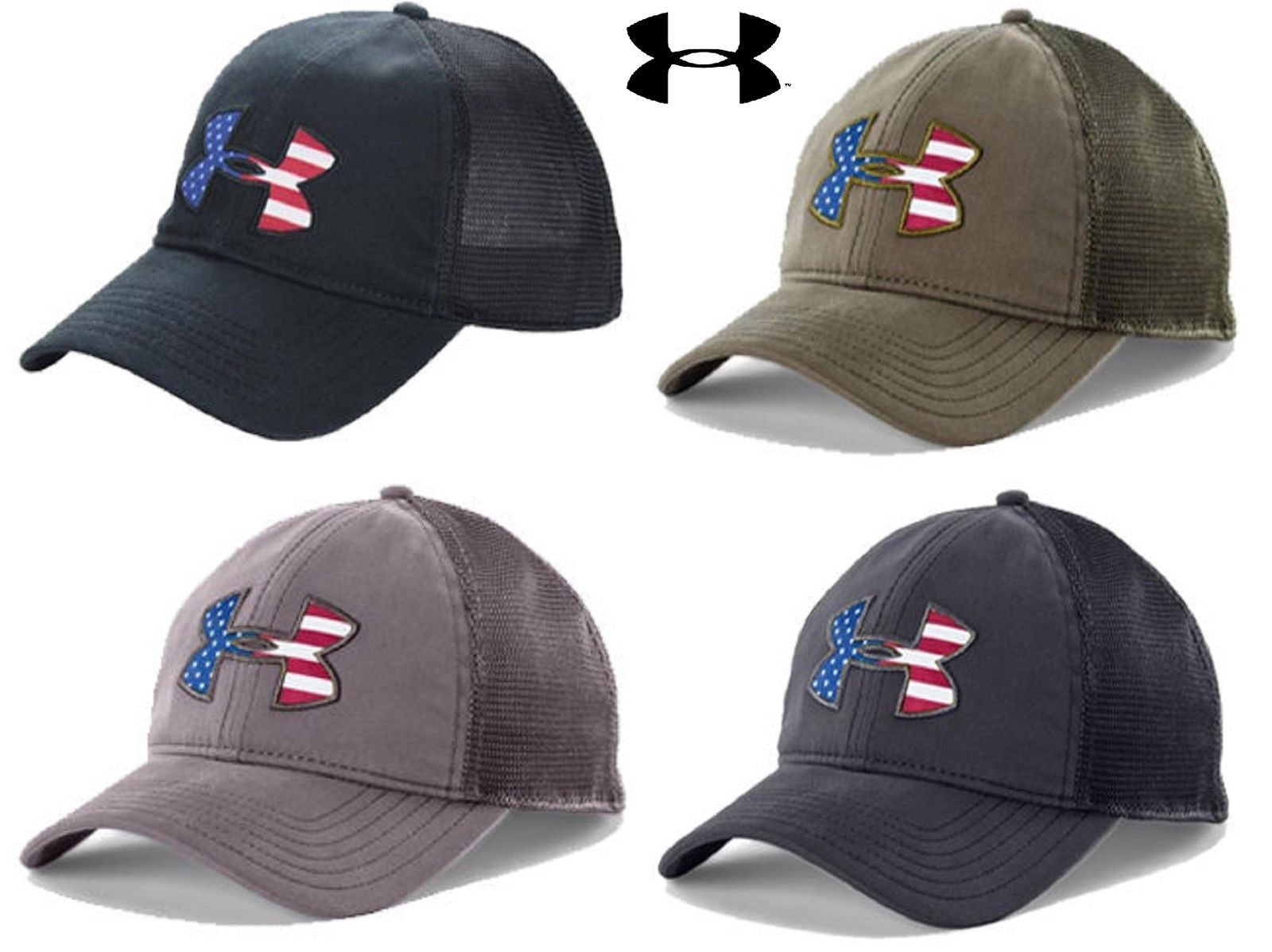 Under Armour Mens Big USA Flag Logo Cap - UA Snapback American Flag  Baseball Hat. dab62115684