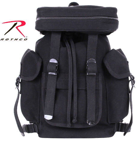 "Black Compact Canvas European Rucksack Backpack - Rothco 15"" Small Bag Pack"
