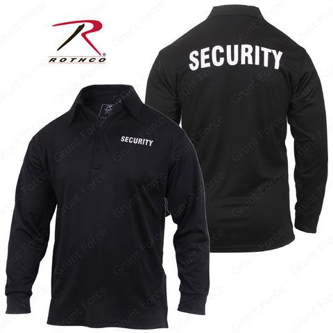 Rothco Moisture Wicking Long Sleeve Security Polo - Men's Black Collared Shirt
