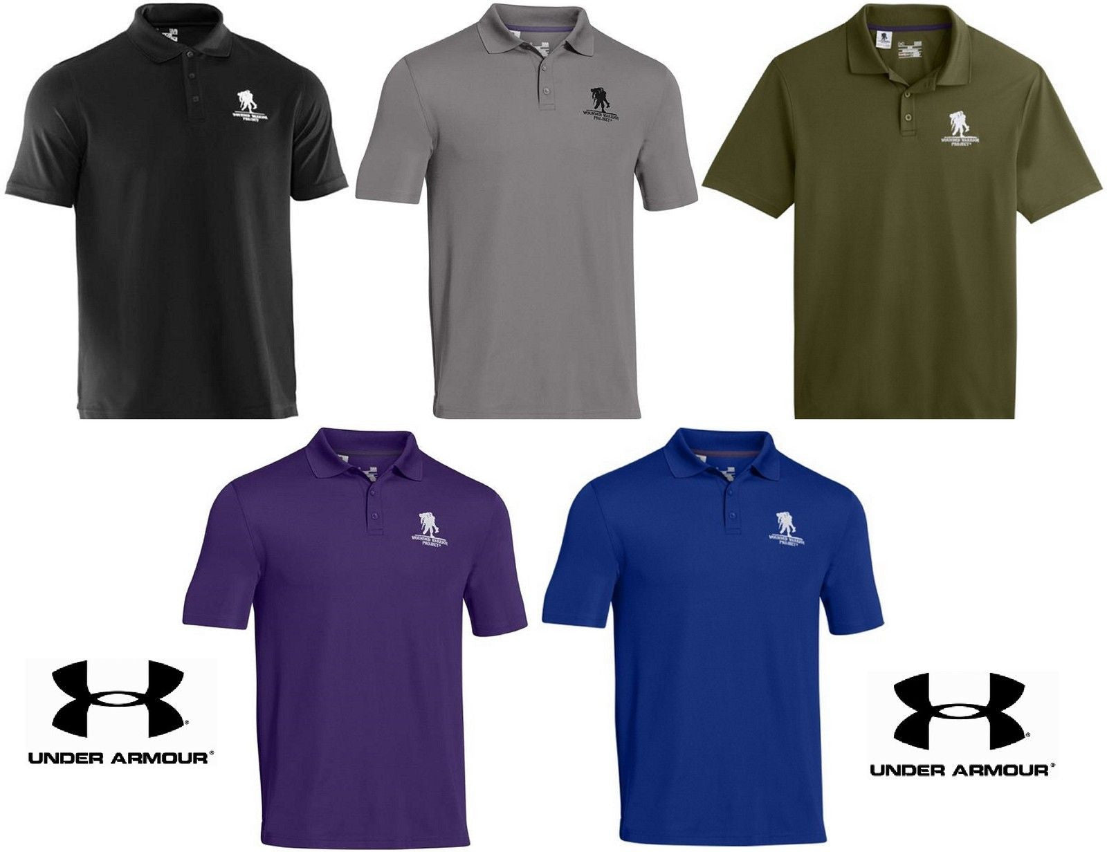 aa138043 Under Armour Performance Polo Shirt Wounded Warrior Project Collared Golf  Shirts.